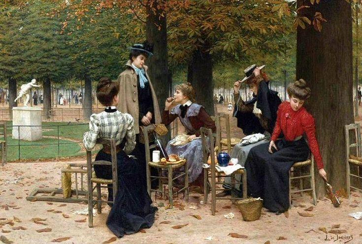 """""""Un déjeuner d'ouvrières aux Tuileries"""" (1901), une huile sur toile de Léonce-Joseph de Joncières (1871-1947) (Paris 1er)"""