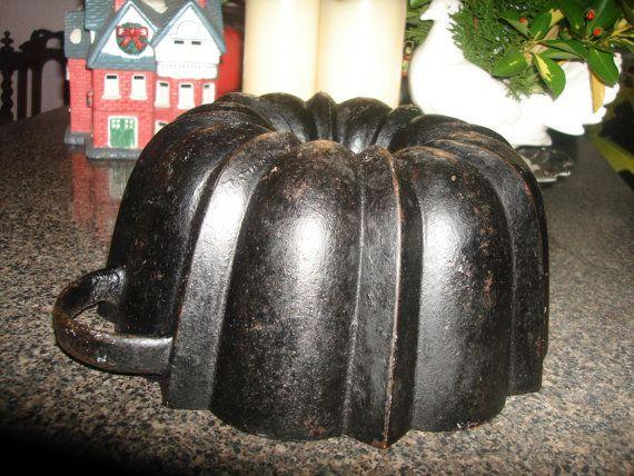 Antique Cast Iron Bundt Cake Pan 1900s German By