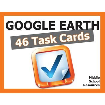 46 Task Cards with 46 activities for students to explore Google Earth.Activities include:- measuring distance with ruler function- calculating area- using longitude and latitude- mastering Google Earth tools and applications- understanding continents, countries- exploring Google Sky, Moon and Mars- zooming in to significant landmarks- investigative work on the ground- and much more.Comprehensive Answer Key included.Print out cards on to firm board - easy two-cut template to create four…