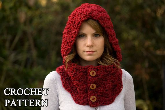 free crochet neck warmer patterns | CROCHET PATTERN Hooded Cowl, Button Neck Warmer, Crochet ... | crochet