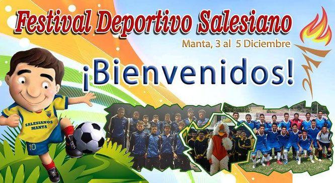 Banner promocional del encuentro de delegaciones deportivas salesianas del país. Manta, Ecuador