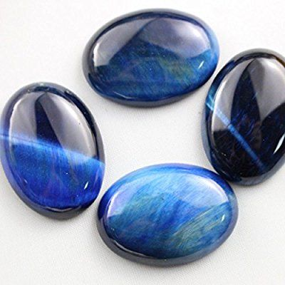4pcs Blue Tiger's Eye Natural Gemstone Oval 22*30mm Cabochons for Jewelry Making Beads Cabs