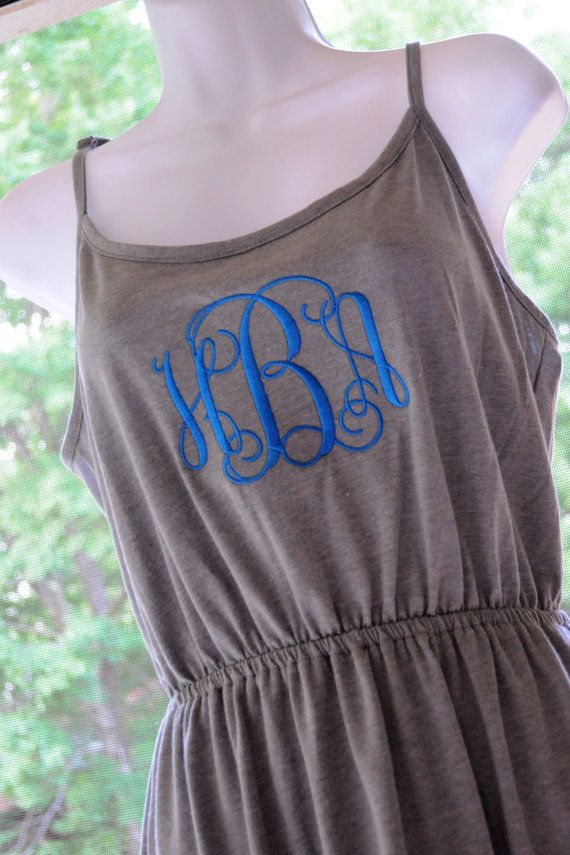Monogrammed Sundress/Coverup. Comes in Black, gray, white & aqua. Choose thread color and font! Great for the beach!