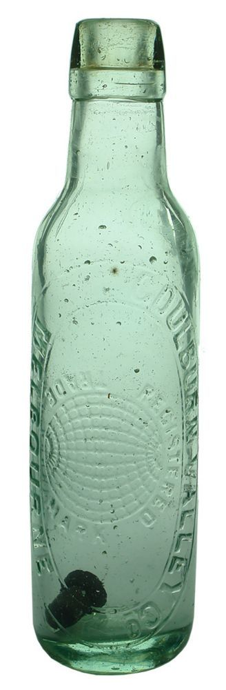 Embossing: Goulburn Valley Co / Registered / (Globe) / Trade Mark / Melbourne. Base: KBC Monogram / 5829. (Victoria) Type: Aerated Water Lamont /  Era: 1880s-1890s /  Variety: Lamont. Applied top. Aqua. 10 oz. /  Height: 231 mm /  Condition: Very Good. Polished. A bit of haze. Pitting still evident. Lip has been very slightly smoothed down. Embossing is very good. Quite a hard one to get. /  Grade: 7 /  Estimate:  $ 40 -  $ 60 #Bottles #Lamont #MADonC