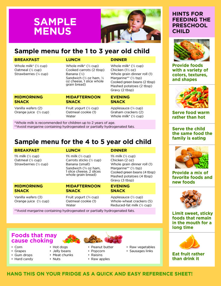 menu for the one to three year old and four to five year old child
