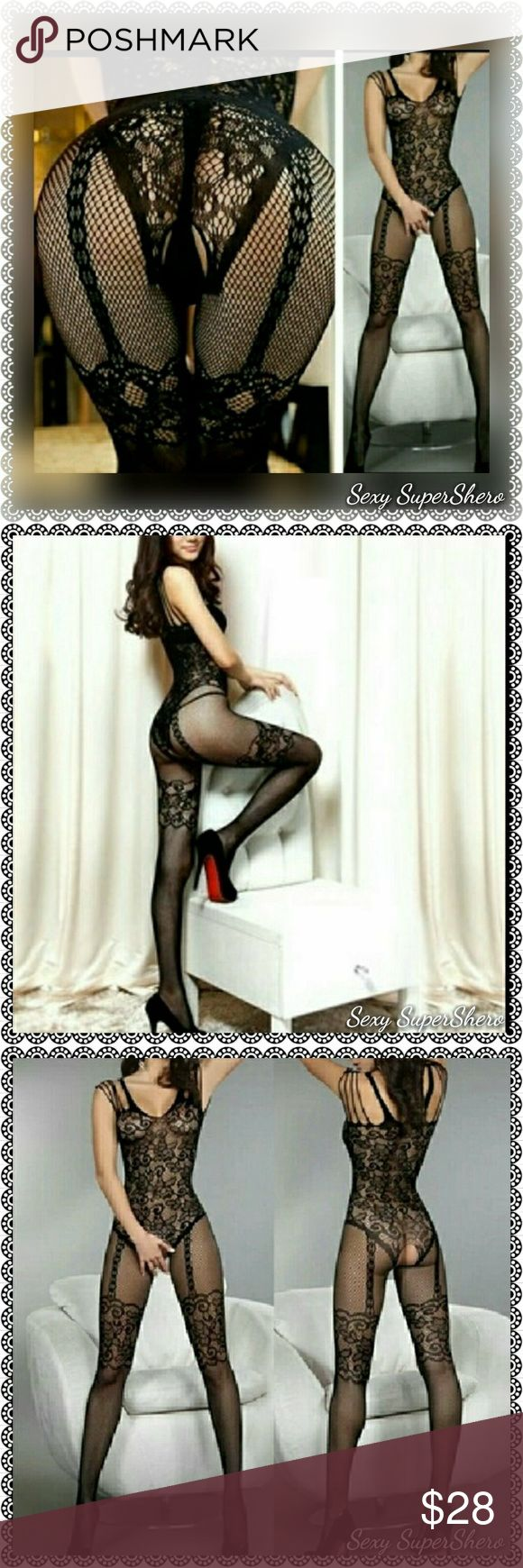 Full-Body open crotch Sexy lingere stockings Brand New in Packaging Sexy lingere Full-Body stockings Open crotch 1pcs Fishnet & lace Open crotch Body Stocking (G-string is not included) PERFECT Surprise-Your-Man lingere one-piece!   Size(s): One size- fits 4'9-5-11, 90-165lbs Also available in QS (plus size),see other listing  Color(s): Black  Material(s): 90% Nylon, 10% Spandex  Prices are FIRM unless bundled! Bundle to Save!  Ships in~48hrs Sexy SuperShero Intimates & Sleepwear