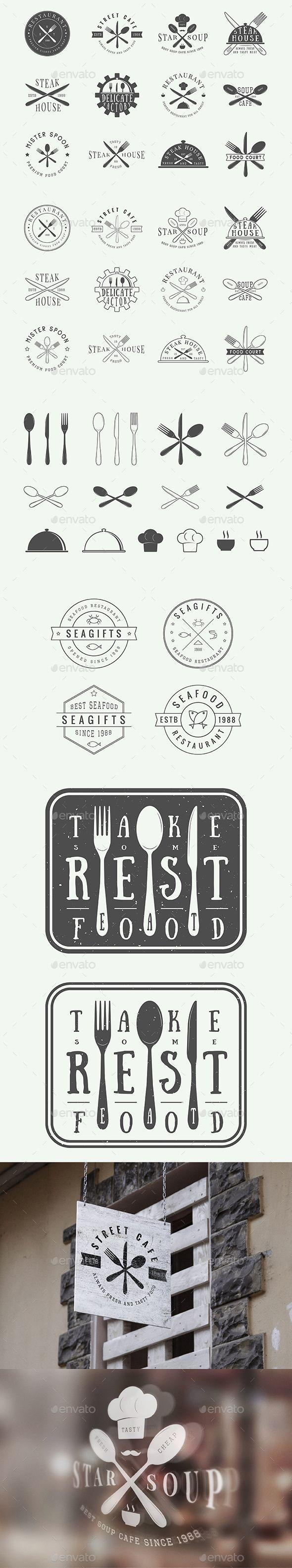 Vintage Restaurant Emblems Template PSD, Vector EPS, AI Illustrator
