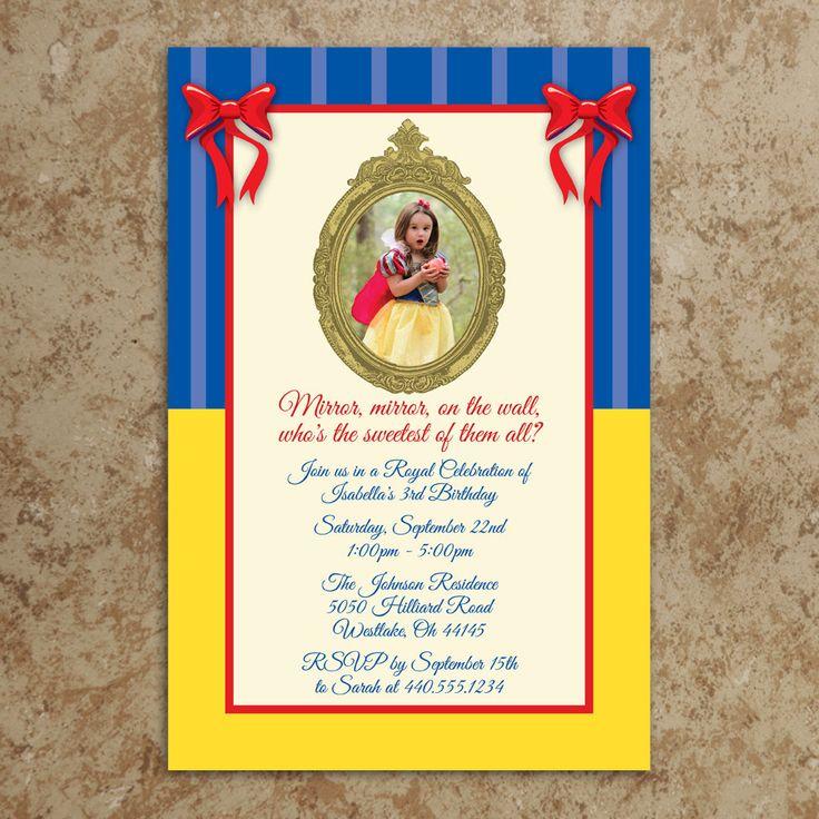 Snow White Invitation - Snow White Birthday Invitation - Girl Birthday Invitation - Princess Birthday Invitation - DIY Printable Invitation. $22.00, via Etsy.