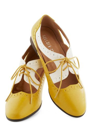 Summon Success Flat in Marigold by Chelsea Crew - Yellow, White, Cutout, Menswear Inspired, Lace Up, Low, Better, Faux Leather