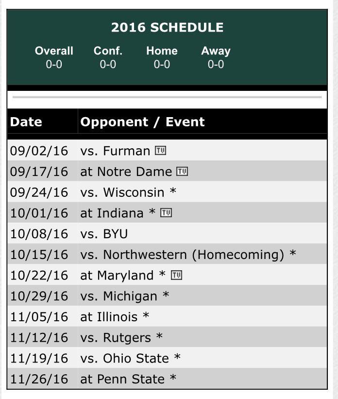 Michigan State Football Schedule 2016
