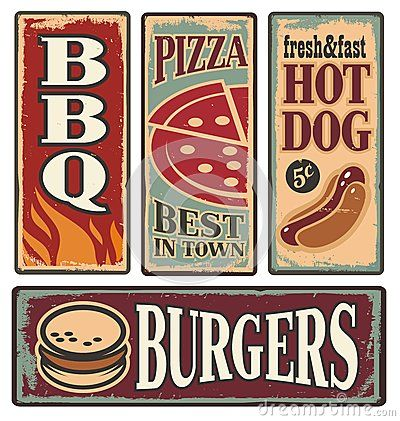 Vector Illustration about Retro fast food tin signs