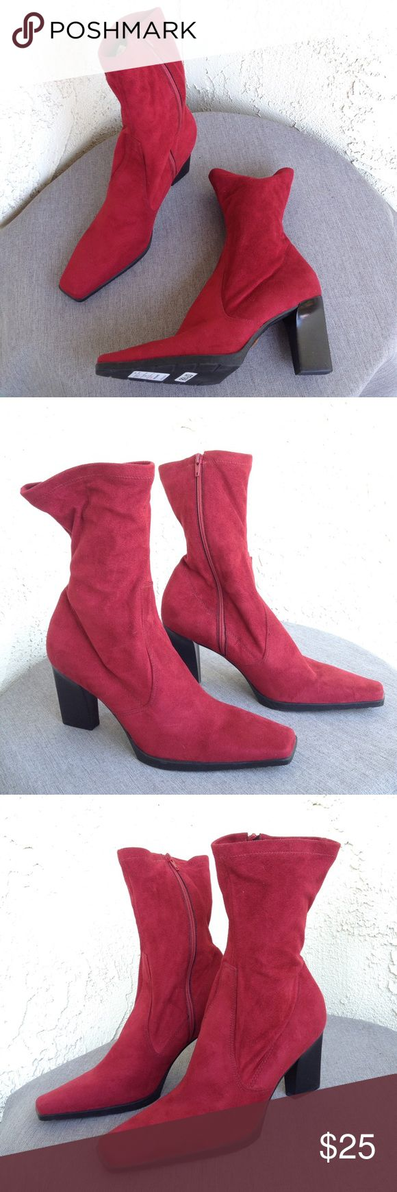 Franco Sarto Red Suede High Ankle Heeled Boots 8.5 Gorgeous red suede heeled booties by Franco Sarto. They are high ankle with a roper style toe, and very soft! They are new with the $70 special price tag from Nordstrom. There is just some small marks on the bottom from them being moved to and from the racks. Absolutely gorgeous, size 8.5!  Stock Number: 0013 Franco Sarto Shoes Ankle Boots & Booties
