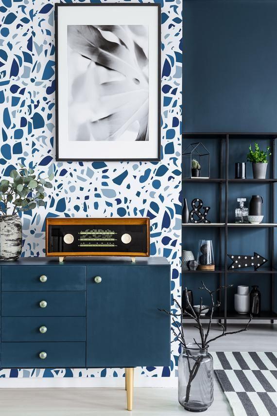 Blue Terrazzo Peel And Stick Wallpaper Seamless Terrazzo Etsy Peel And Stick Wallpaper Removable Wallpaper Geometric Removable Wallpaper
