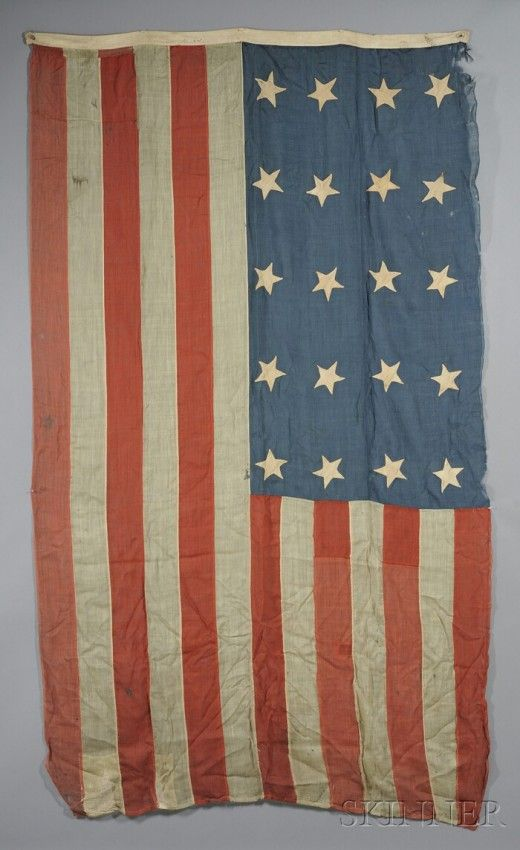 Twenty-star American Flag, 1819, hand-sewn wool gauze with homespun cotton stars. A twenty-star American flag commemorates the admission of the states of Tennessee, Ohio, Louisiana, Indiana, and Mississippi to the Union in 1818.