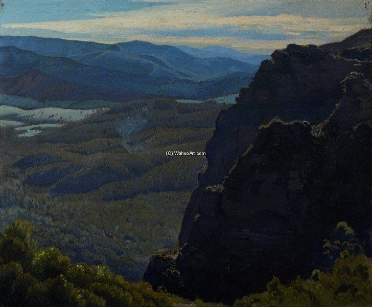 Man And Mountains de Elioth Gruner (1882-1939, New Zealand)