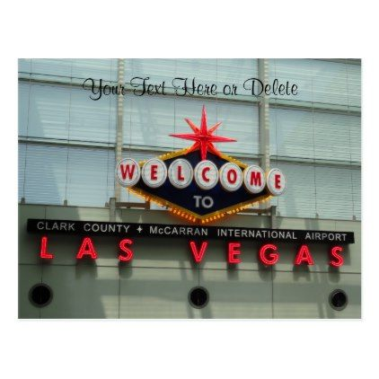 Welcome to Las Vegas Airport Sign Postcard - postcard post card postcards unique diy cyo customize personalize