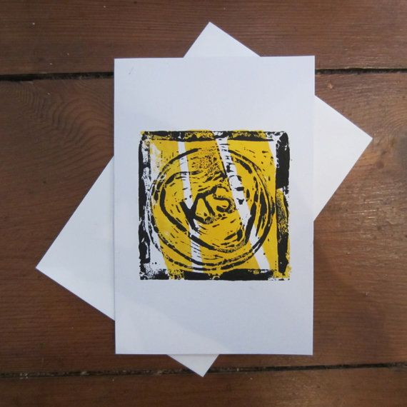 KISS CARD (Black on Yellow) on Etsy, £2.07