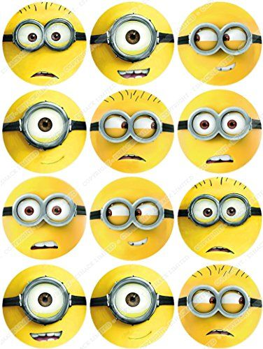 Cakeshop 12 x PRE-CUT Despicable Me Minions Edible Cake Toppers - Premium Wafer Paper