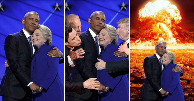 Cringeworthy Obama Clinton Hug Photo Gets Trolled