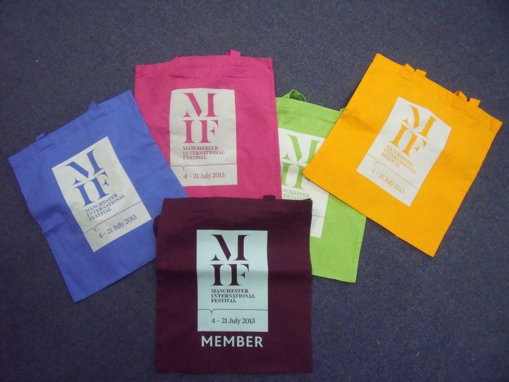 Custom printed Fair Trade cotton tote bags for Manchester International Festival