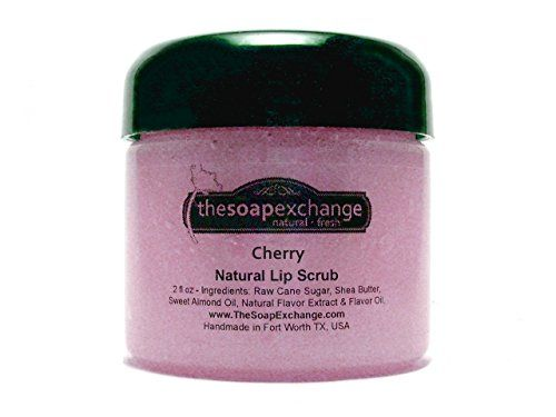 Lip Scrub - Cherry - BIG 2 fl oz jar - Handmade Artisan Lip Care by The Soap Exchange *** Additional info @