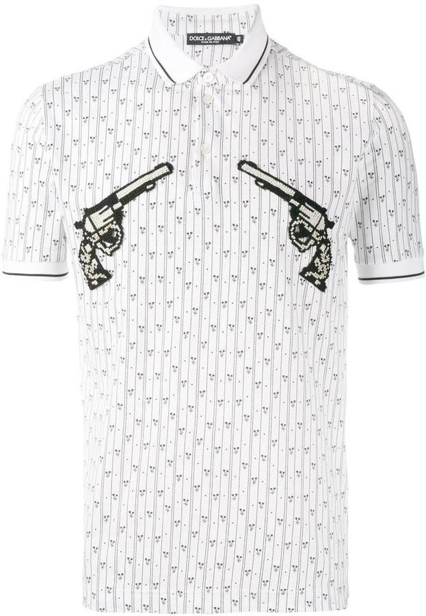 Dolce & Gabbana gun patch printed polo short