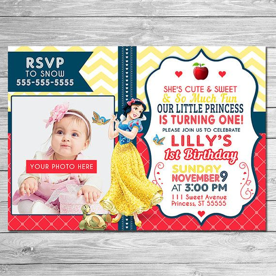 107 best invitation images on pinterest | snow white parties, Birthday invitations