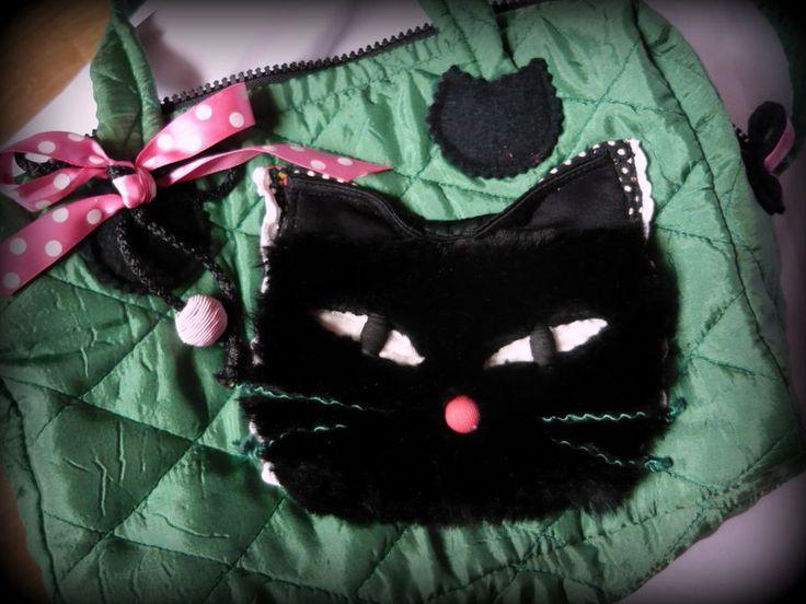 Handmade by Judy Majoros -Green quilted cat handbag-shoulder bag. Black Faux fur cat. Recycled bag