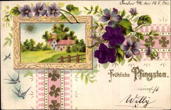 Material Präge Ansichtskarte / Postkarte Glückwunsch Pfingsten, lila Blüten, Schwalben, Landschaft