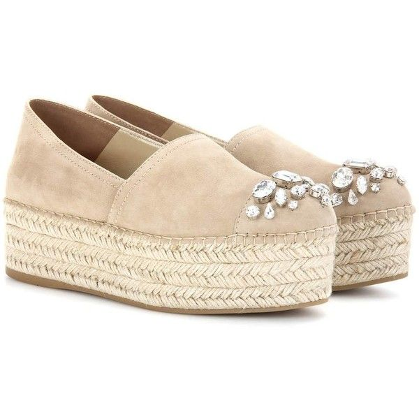 Miu Miu Embellished Suede Platform Espadrilles ($965) ❤ liked on Polyvore featuring shoes, sandals, beige, espadrilles, beige espadrilles, beige sandals, espadrille sandals, beige shoes and platform sandals