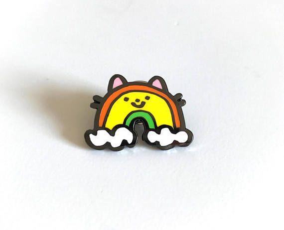 Rainbow cat enamel pin
