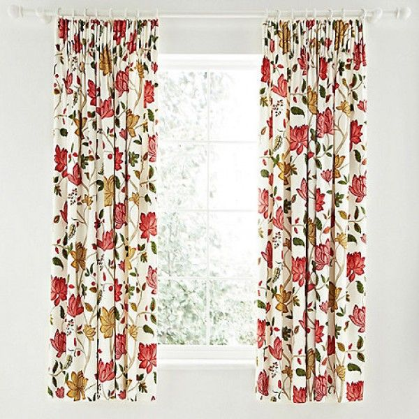 Sanderson Pondicherry Red Ready Made Curtains 66x72inches
