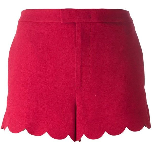 Red Valentino scalloped hem shorts ($350) ❤ liked on Polyvore featuring shorts, red, scalloped shorts, scallop hem shorts, red valentino, scalloped edge shorts and red scalloped shorts