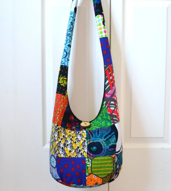 d925aa5f87 Sling Bag Patchwork Hobo Bag Bright Colorful by 2LeftHandz on Etsy ...