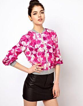 Paprika Floral Print Bomber Jacket