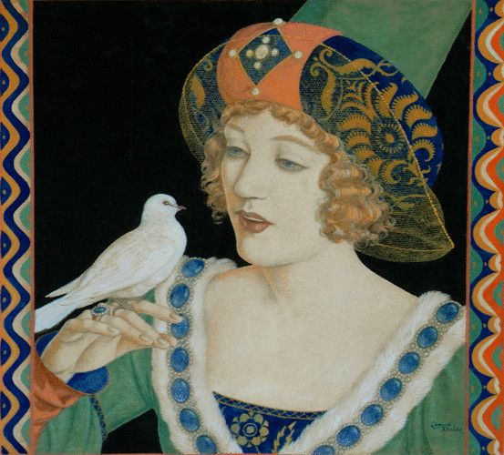 Original illustration by Edmund Dulac of Marion Davies entitled ' When Knighthood was in Flower'. c1922.    Watercolour on paper.
