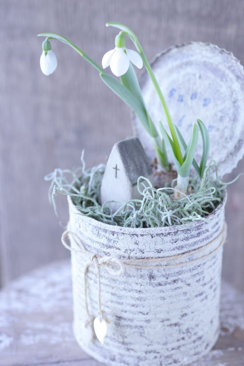 Snow drops in old can..