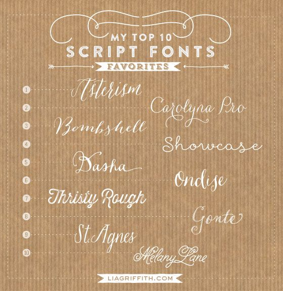 Top 10 favorite script fonts  {Lia Griffith}