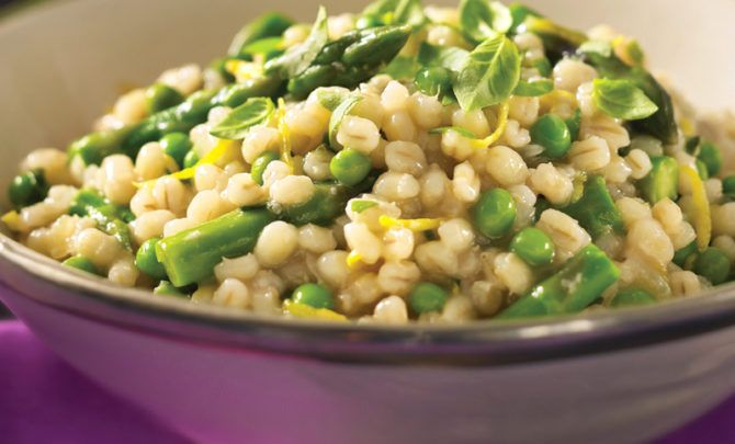 Here, the bright flavors of lemon, basil and asparagus play against the earthiness of barley and onions.