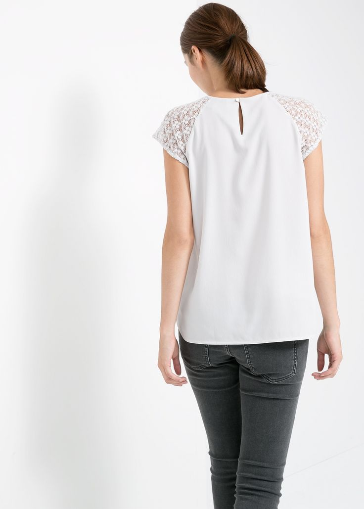 Lace detail blouse - Shirts for Woman | MANGO India