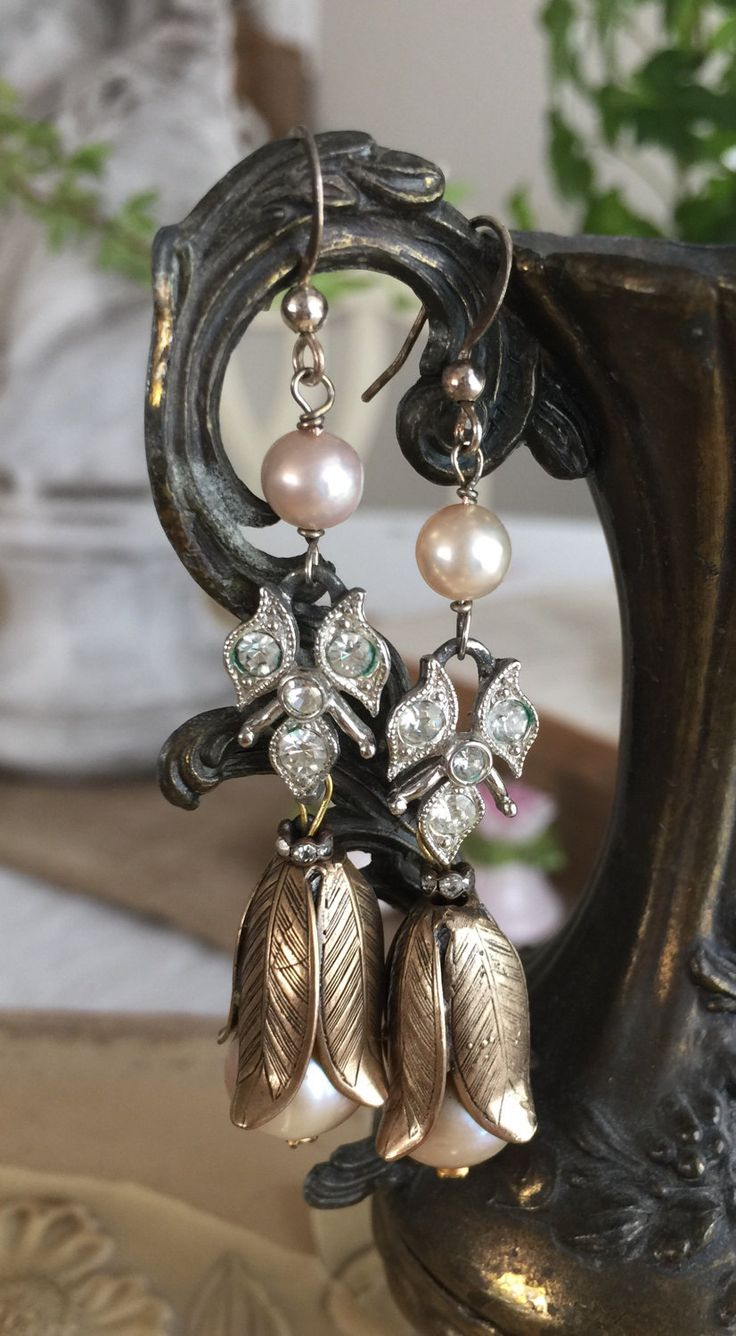 Pearl Tulips  Vintage Assemblage Rhinestone Drop Earrings Dangle Art Deco  Art Nouveau Flower Floral Petals Pierced, The French Circus