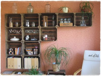 Great idea for old wooden crates: Fruit Crates, Ideas, Dining Room, Living Room, Pallet, Crate Shelves, Diy Projects