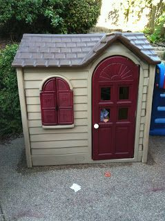 Little Tikes Playhouse Remodel This is so cute! I didn't even see this one. My daughter suggested that we paint ours to match our house and there's one already out there. :) LOL