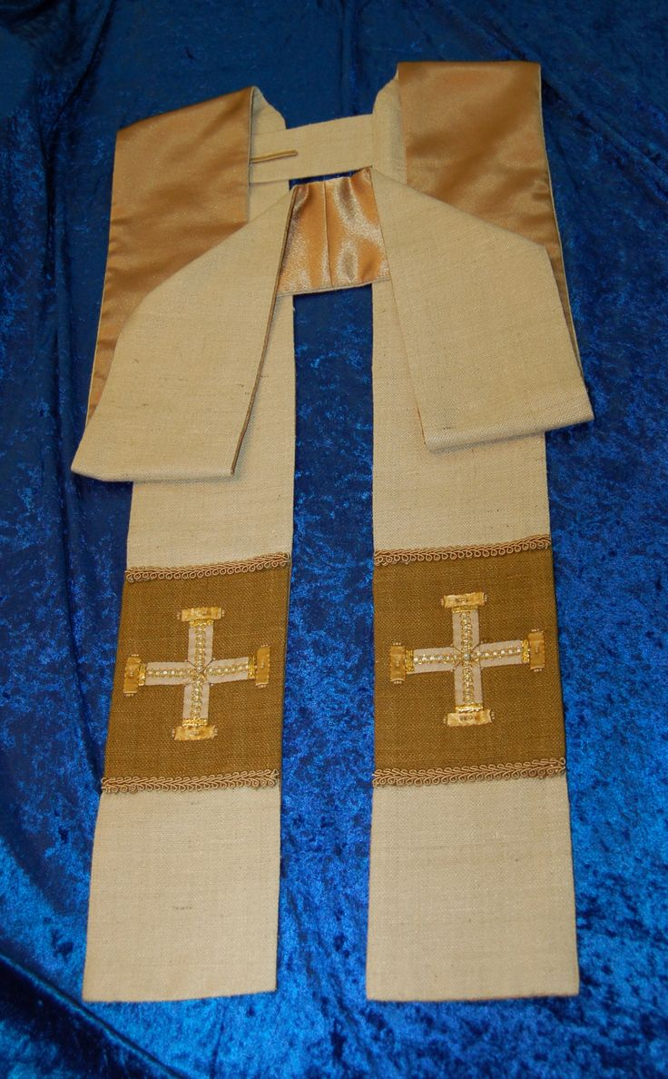 Deacon's Stole; pattern and directions from 20 Simple and Elegant Vestment Patterns by Reverand Cheryl L. Miner, with additional embroidered crosses on tails inspired by designs from LAVS and X Regio; silk matka cream and green fabric on face, with cotton lawn interfacing, and crepe back polyester satin lining. 1.15.17