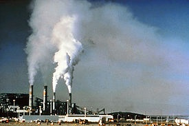 Before flue gas desulfurization was installed, the emissions from this power plant in New Mexico contained a significant amount of sulfur dioxide
