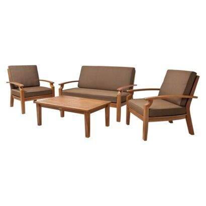 Smith Hawken Brooks Island 4 Piece Wood Patio Conversation Furniture Set Out Of Doors