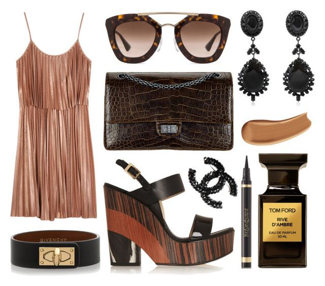 """Chanel croco bag, Jimmy Choo wedges, Halston Heritage dress, Prada sunglasses, Givenchy bracelet, Givenchy earrings, Chanel brooch, Tom Ford fragrance, YSL eyeliner and foundation."" by anastassiablog ❤ liked on Polyvore featuring Prada, Halston Heritage, Jimmy Choo, Givenchy, Tom Ford, Yves Saint Laurent and Chanel"