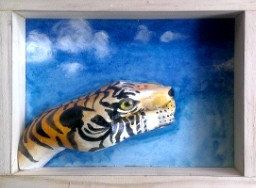 Tiger hand animal by 100percenthandmad on Etsy