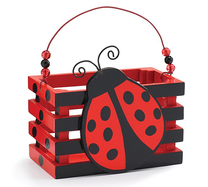 "#burtonandburton Red ladybug wooden crate. Includes PVC liners.3""H X 5""W X 2 1/2""D.Set of 6."
