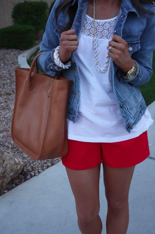 Red Shorts, White Crochet Tank, Denim Jacket, Cork Wedges, White Jewels, Tote Bag, J.Crew, Old Navy, C. Wonder, Banana Republic
